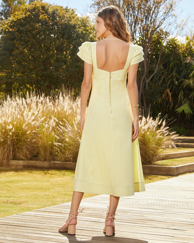 Vestido Tricoline Detalhe Pespontos