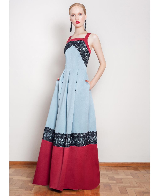 Vestido de Festa Longo Bicolor de Cetim Detalhe Renda
