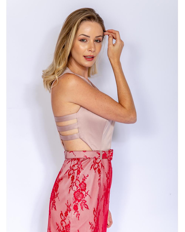Vestido de Festa Midi Renda com Tiras Costas
