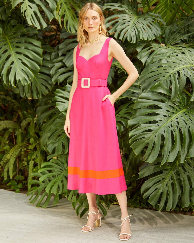 Vestido de Linho Barrado