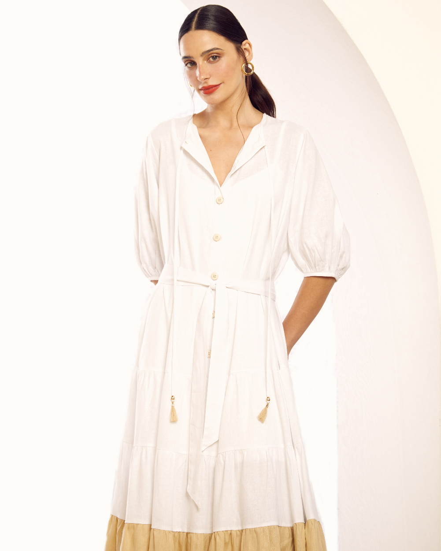 Vestido de Linho Bicolor