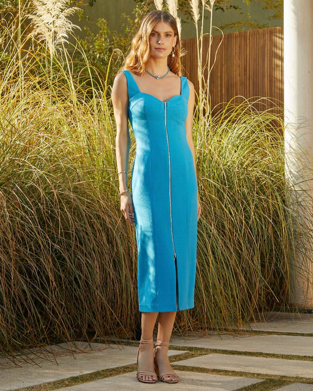 Vestido de Linho Detalhe Zíper