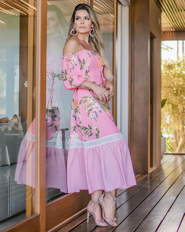 Vestido Longo Mix Floral com Vichy Faixa