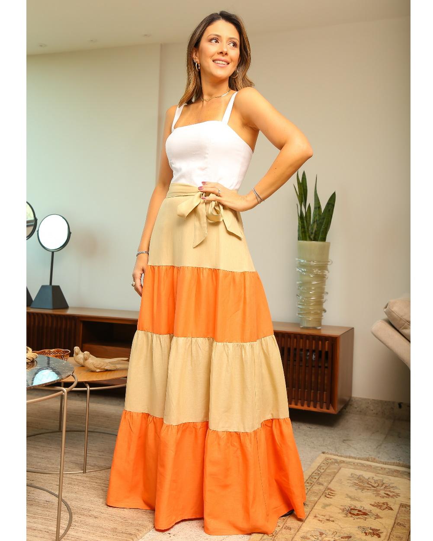 Vestido Midi de Linho Tricolor
