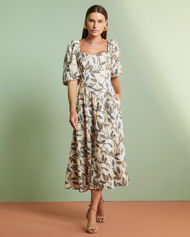 Vestido Midi Linho Rebordado