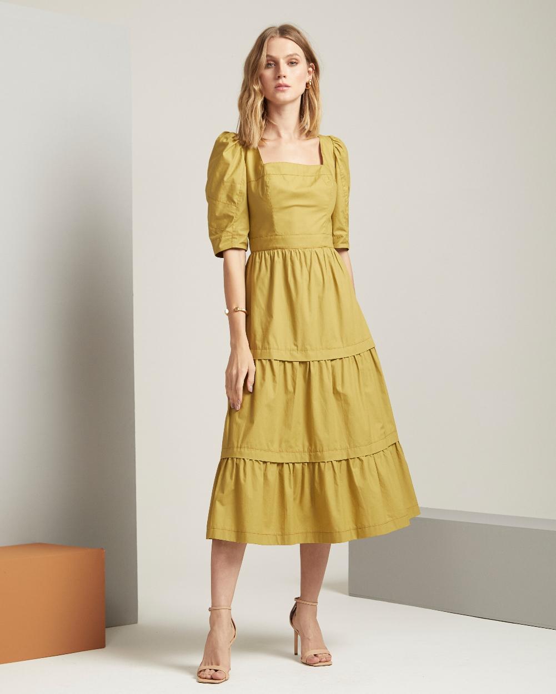 Vestido Tricoline Detalhe Pesponto