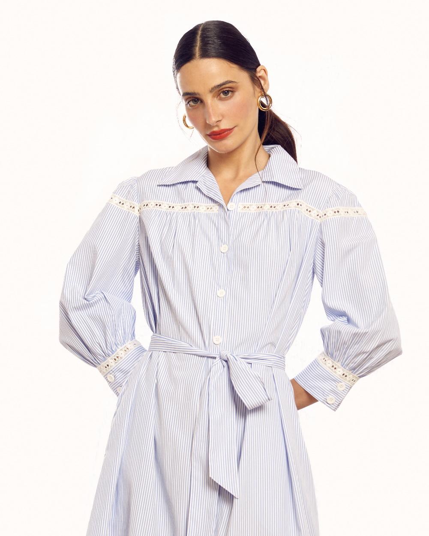 Vestido Tricoline Listrado Amarração Frente