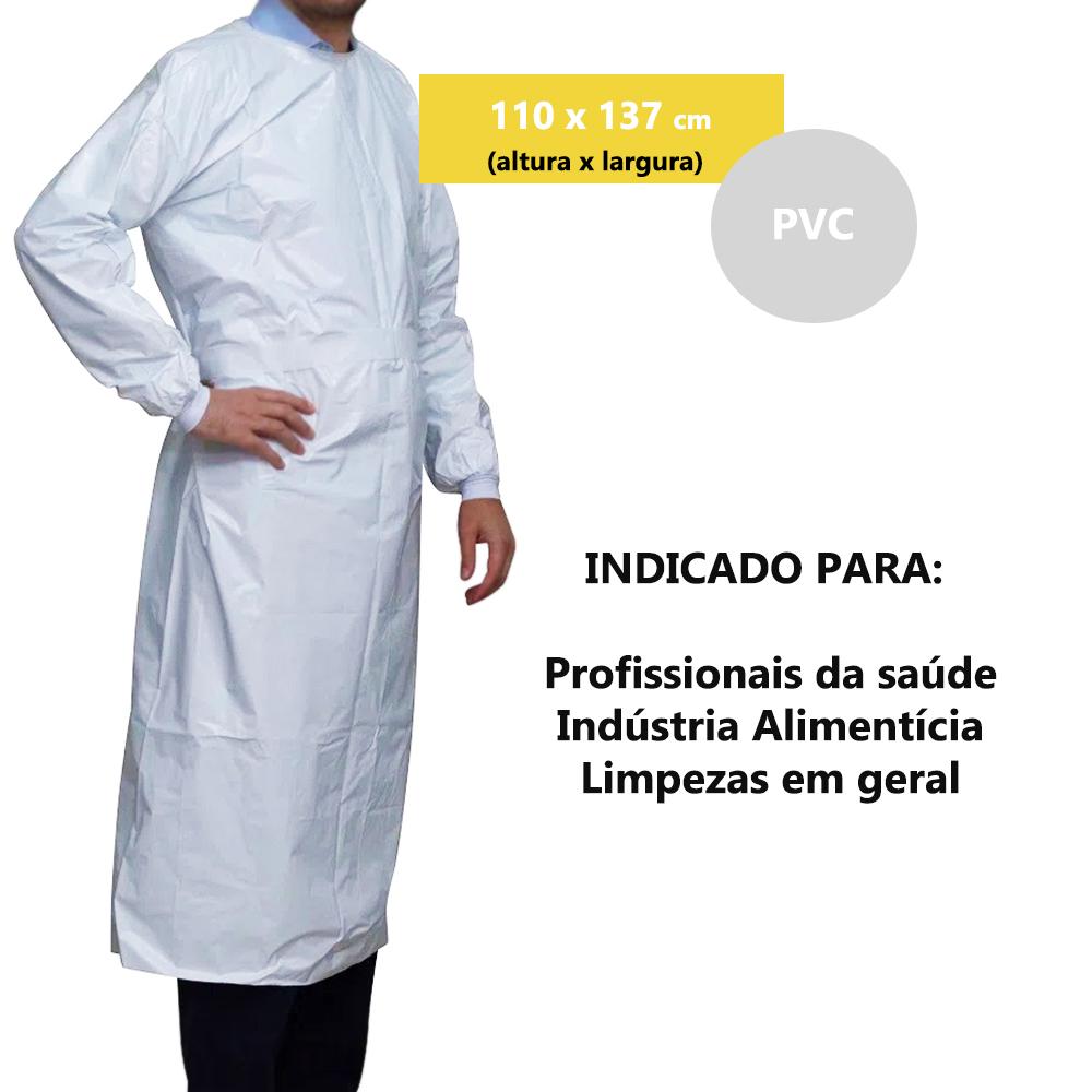 AVENTAL PVC BRANCO MANGA LONGA