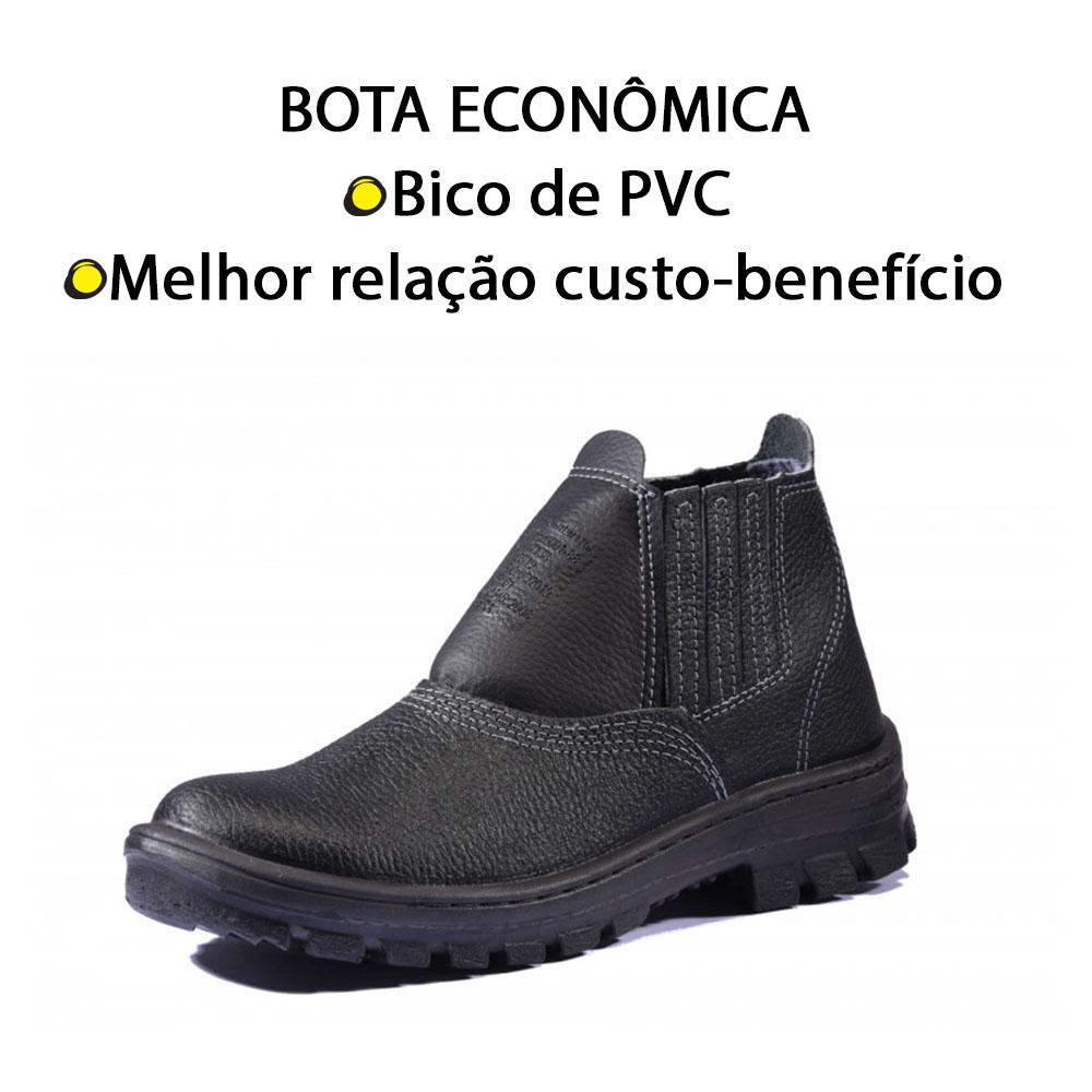 BOTINA DE COURO SOLADO MONODENSIDADE COM BICO DE PVC