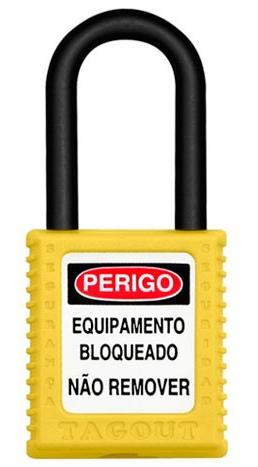 CADEADO DE BLOQUEIO AMARELO COM HASTE PLÁSTICA 38MM X 6,3MM TOGOUT