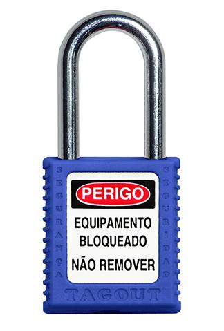 CADEADO DE BLOQUEIO AZUL COM HASTE CROMADA 38MM X 6,3MM TOGOUT