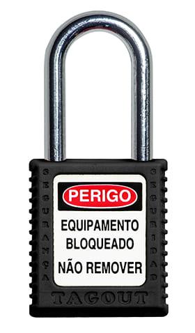 CADEADO DE BLOQUEIO PRETO COM HASTE CROMADA 38MM X 6,3MM TOGOUT