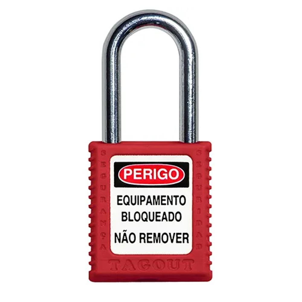 CADEADO DE BLOQUEIO VERMELHO COM HASTE ALUMINIO 38MM X 6,3MM TOGOUT