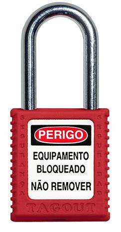CADEADO DE BLOQUEIO VERMELHO COM HASTE CROMADA 38MM X 6,3MM TOGOUT