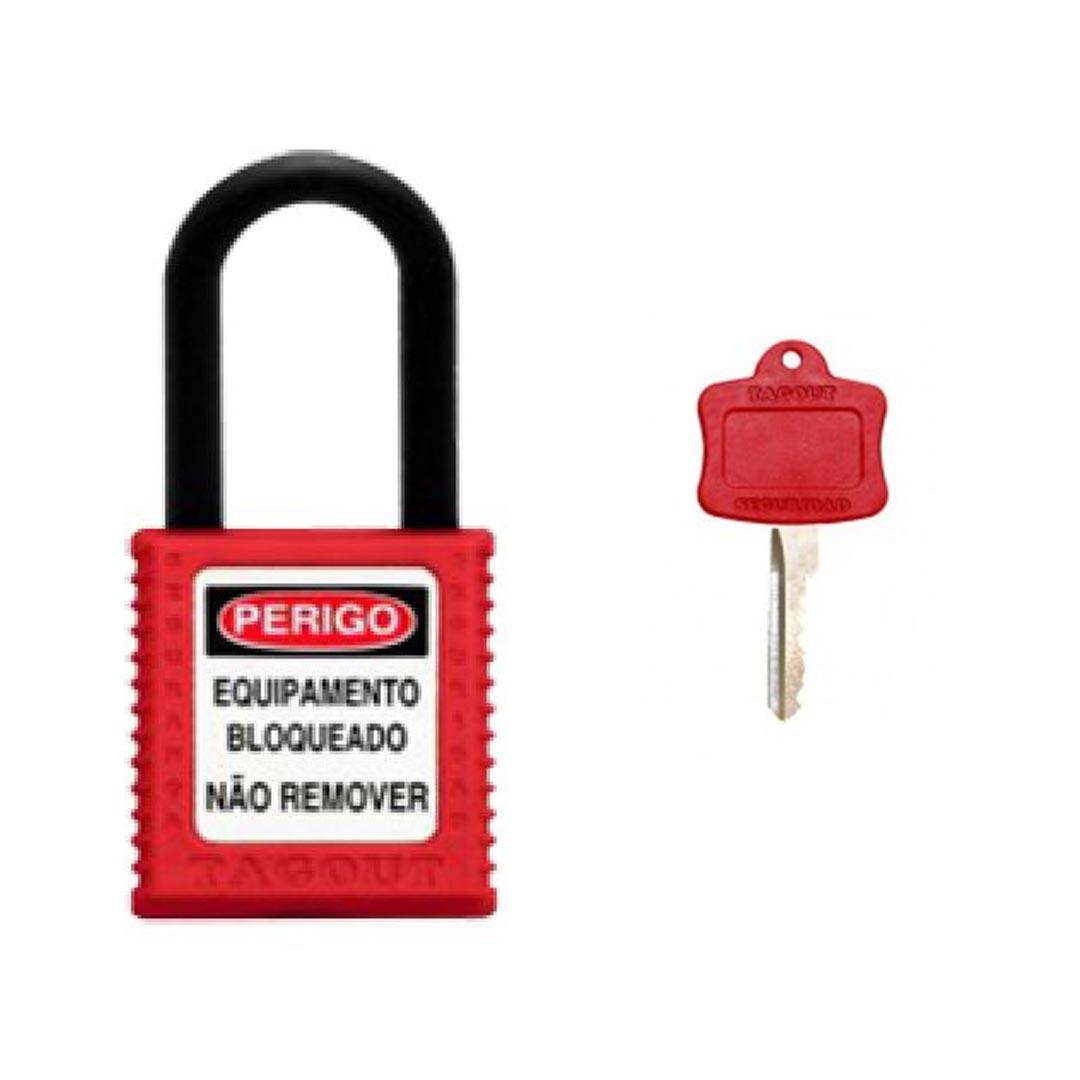 CADEADO PLASTICO HASTE PLASTICA 38MM X 6,3MM VERMELHO
