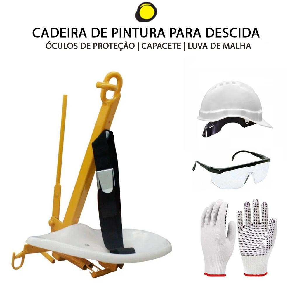 CADEIRA DE PINTURA + CAPACETE LUVA E ÓCULOS DE PROTEÇÃO