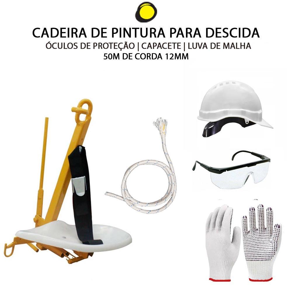 CADEIRA DE PINTURA + CAPACETE + LUVA + ÓCULOS + 50M DE CORDA