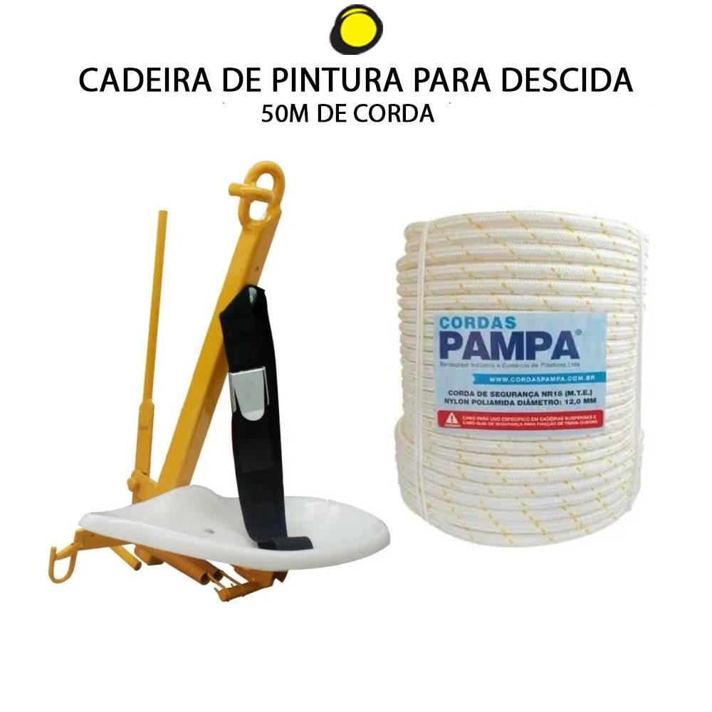 CADEIRA DE PINTURA PARA DESCIDA + CORDA 12MM