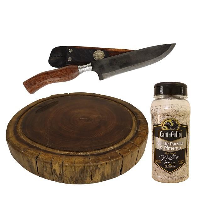 Tábua Rústica + Faca Churrasco 20cm + Sal com Pimenta Premium