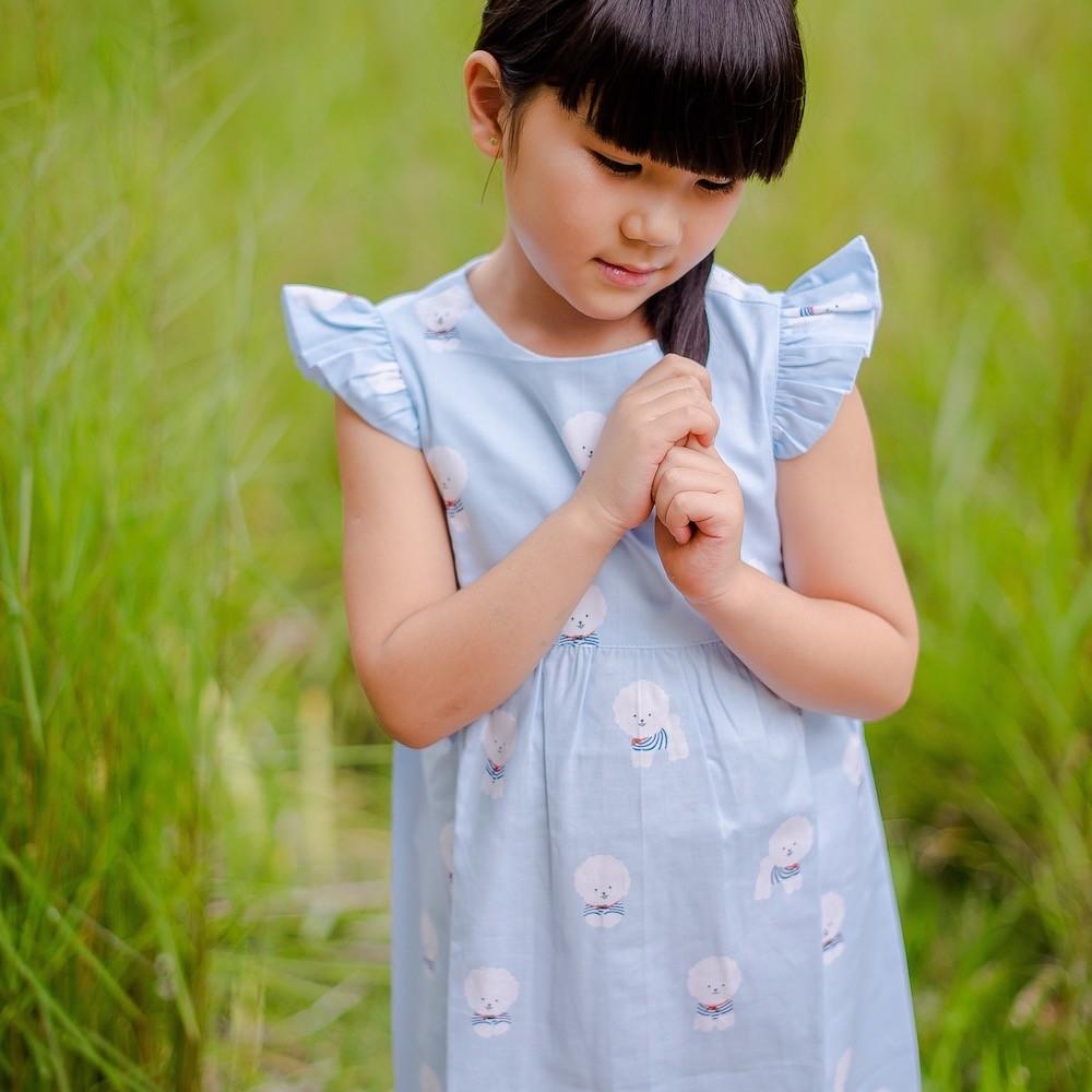 Vestido PomPom Celeste