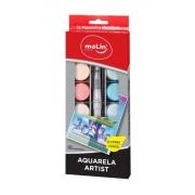 Aquarela Metálica Artist Estojo c/12 Cores + Pincel - Molin