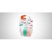 Fita Adesiva Washi Tape Glossy 15MMx3M c/ 03 Unid. (BCO/VD/LJ) - BRW