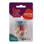 Washi Tape Jocar Office Love is Love Arco Iris 15mm x 3m Blister c/ 03 unid.