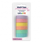 Washi Tape Jocar Office Pastel Trend Brilho 12,5mm x 3m Blister c/ 6 Un.