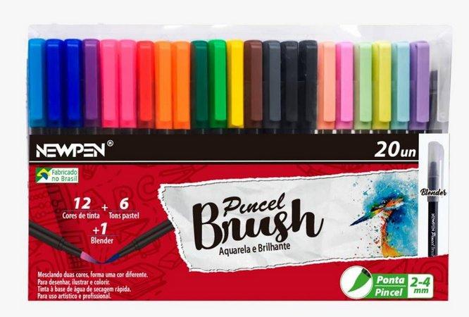 Brush Aquarela E Brilhante - 20un -  Newpen