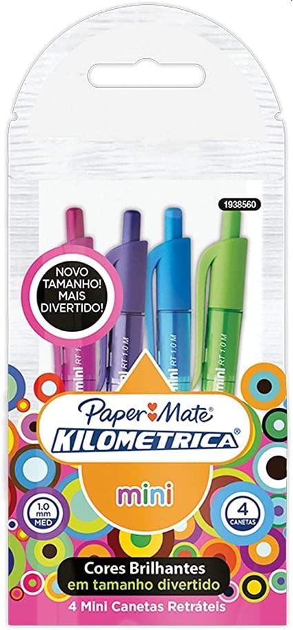 Caneta Esferográfica Mini Kilométrica 100 retrátil - Paper Mate