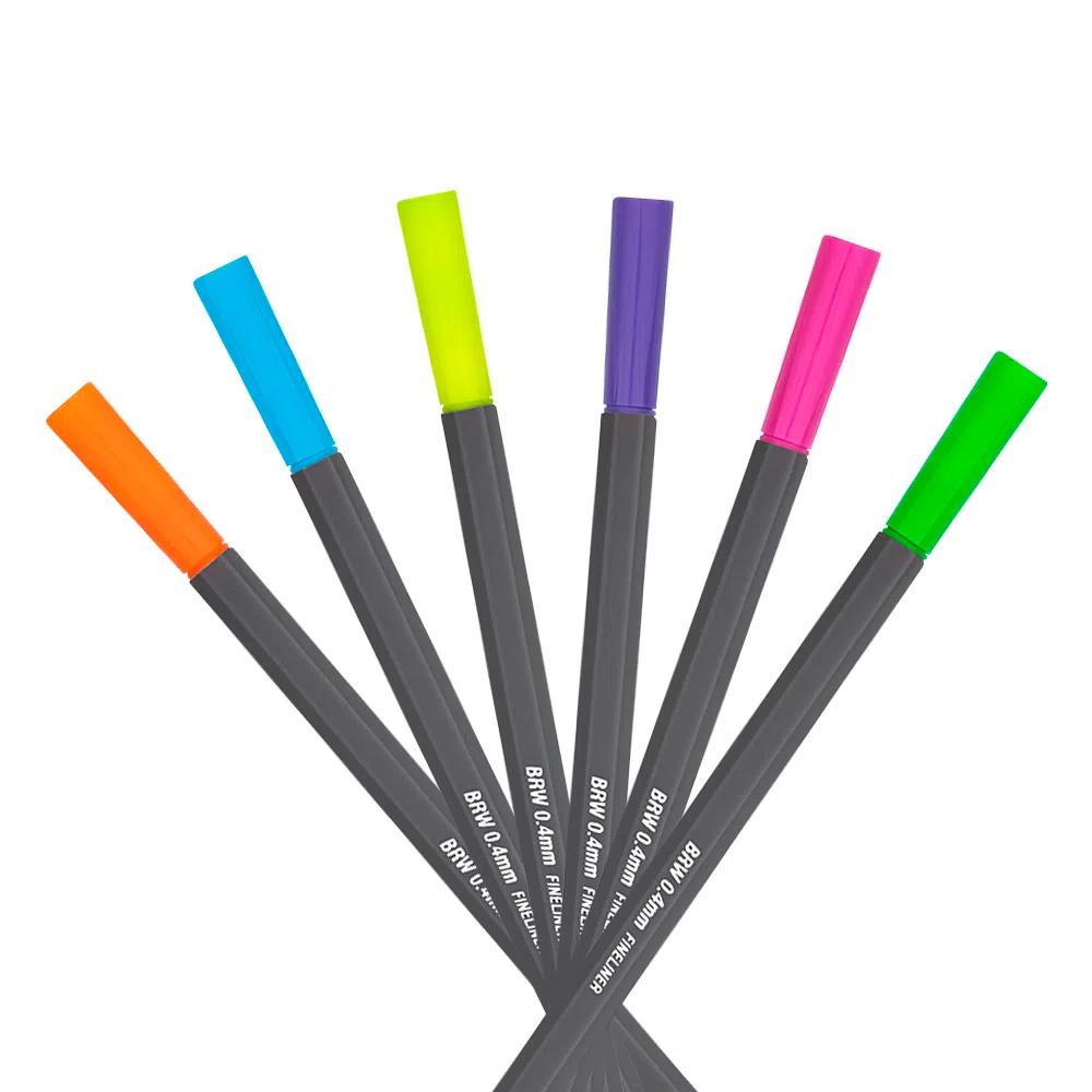 Caneta Fine Liner 0.4MM Cor Neon Blister c/ 06 Unid. - BRW