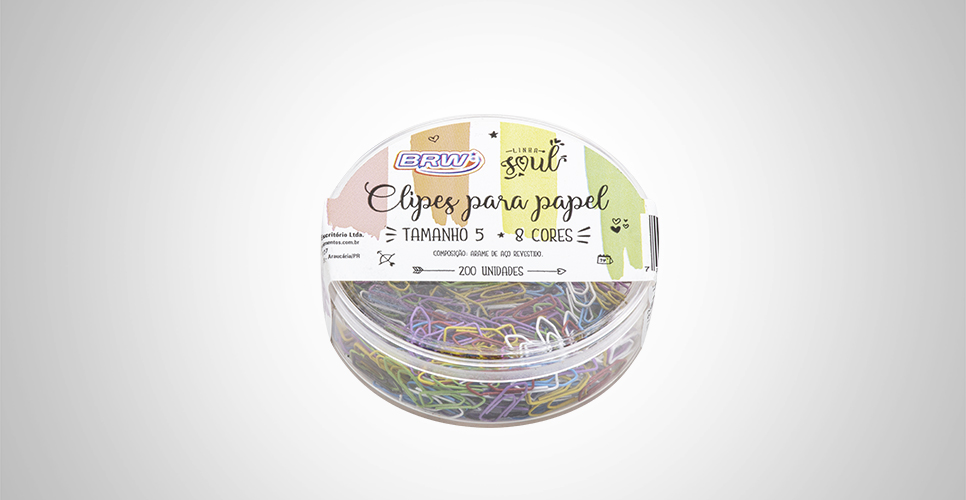Clipes para Papel 5 Colorido Pote c/ 200 Unid. - BRW