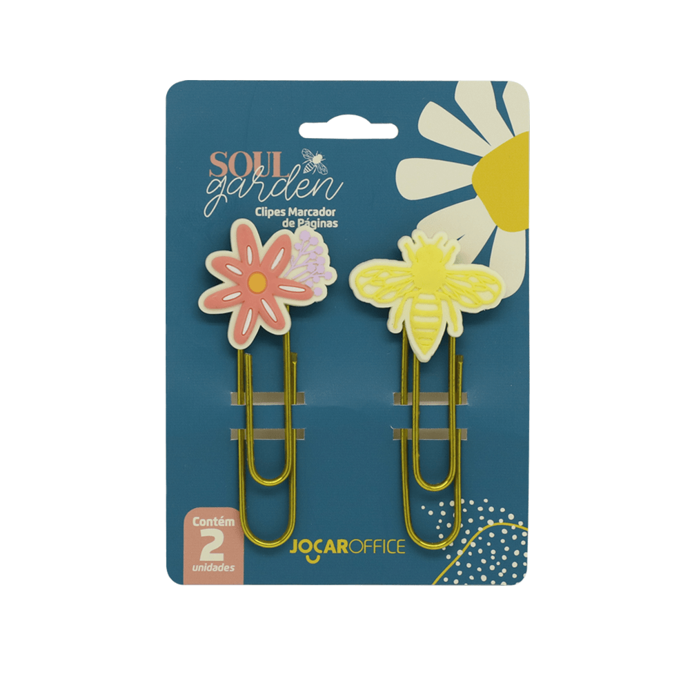 Clipes Soul Garden Abelha 7,5cm Blister c/ 02 unid. - Jocar Office