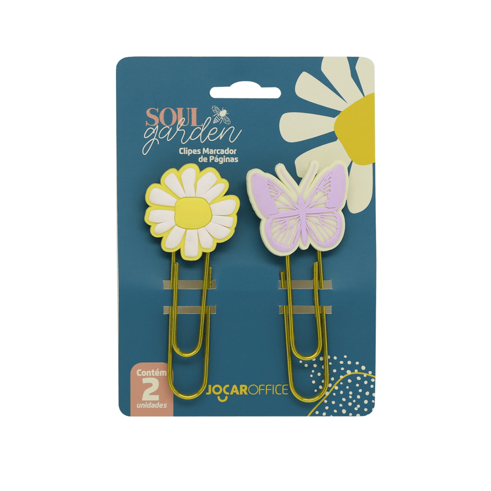 Clipes Soul Garden Margarida 7,5cm Blister c/ 02 unid. - Jocar Office