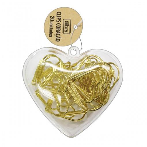 Clips Coração Dourado - Tilibra