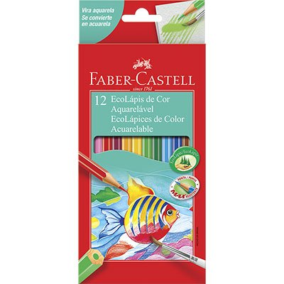 Ecolápis de Cor Aquarelável - 12 cores - Faber Castell