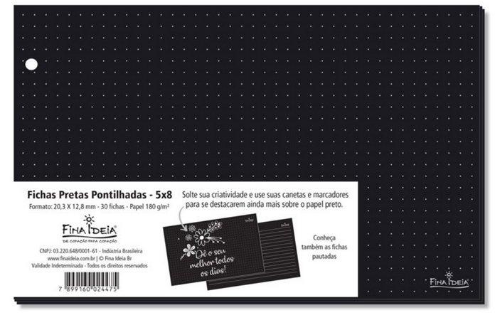 Fichas pretas Pontilhadas 5x8 - 30 unid.