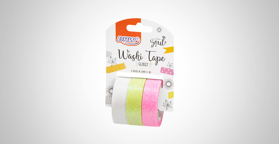 Fita Adesiva Washi Tape Glossy 15MMx3M c/ 03 Unid. (BCO/AM/RS) - BRW
