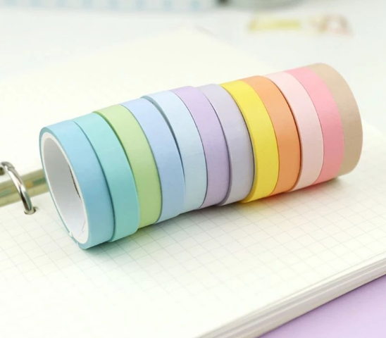 Kit Washi Tapes Fine Candy Colors - 12 un