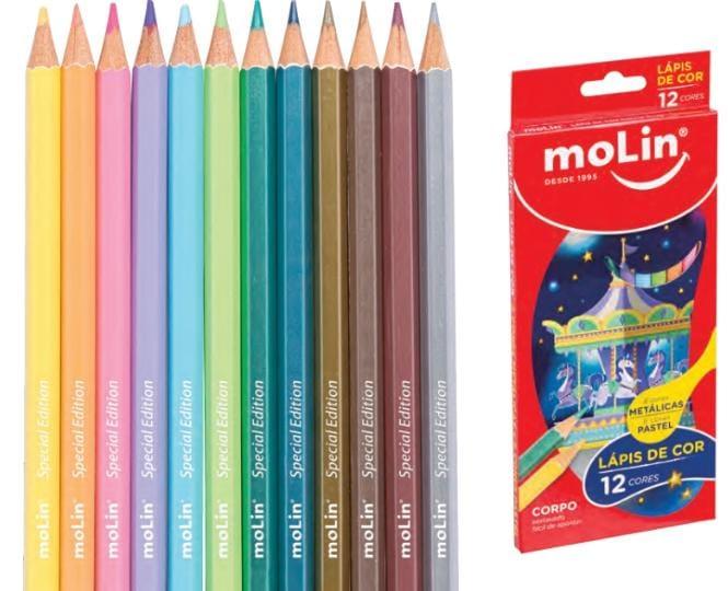 Lápis de Cor Patel e Metálico - 12 un - Molin