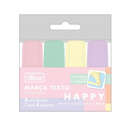 Mini Marca Texto Happy - 04 un - Tilibra