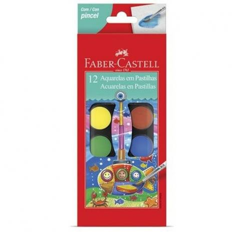 Pastilha de Aquarela - Estojo 12 Cores - Faber-Castell
