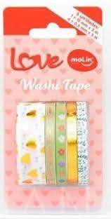 Washi Tape Love Molin 3 - Blister com 5 unidades