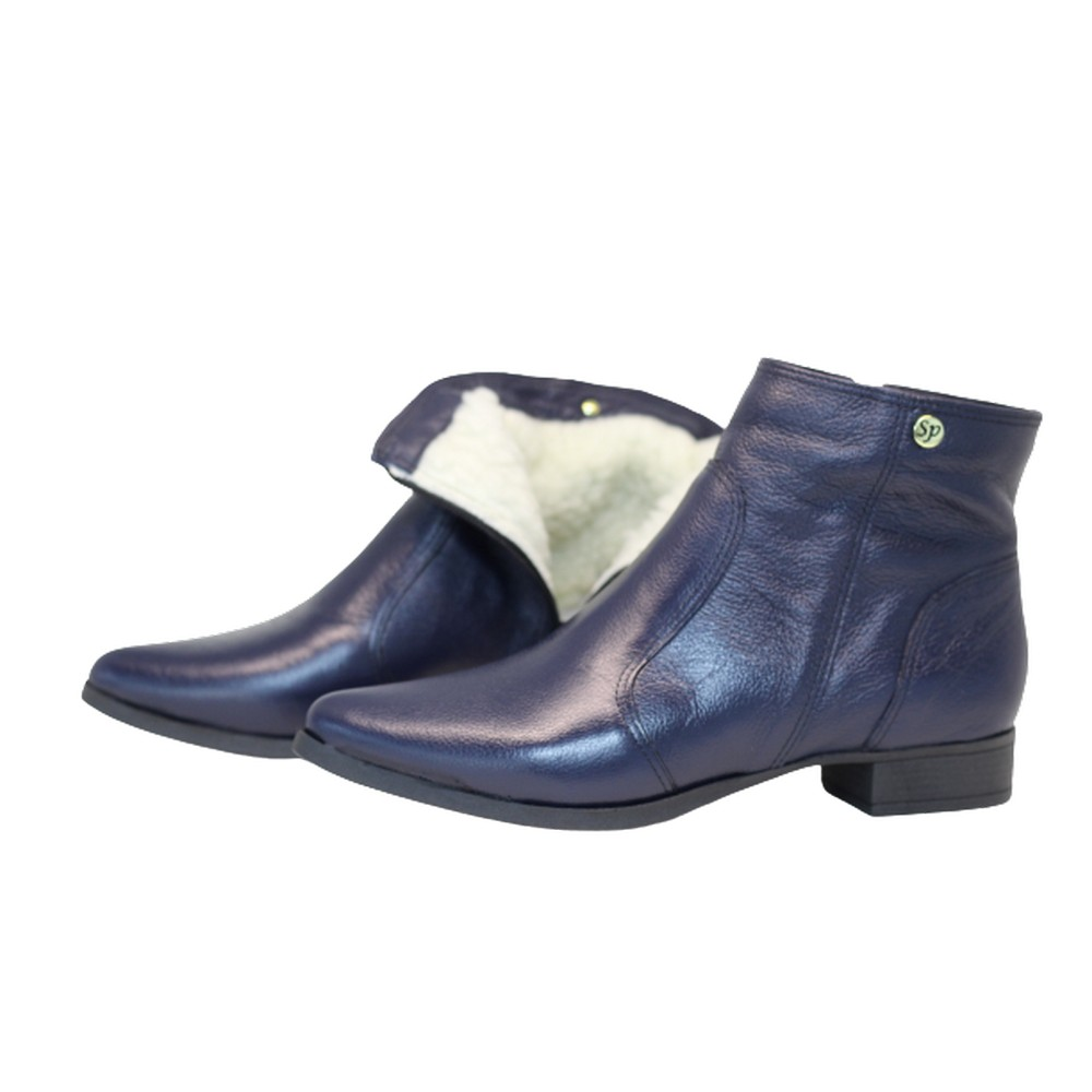 Bota cano curto lã sintética couro salto 2cm azul