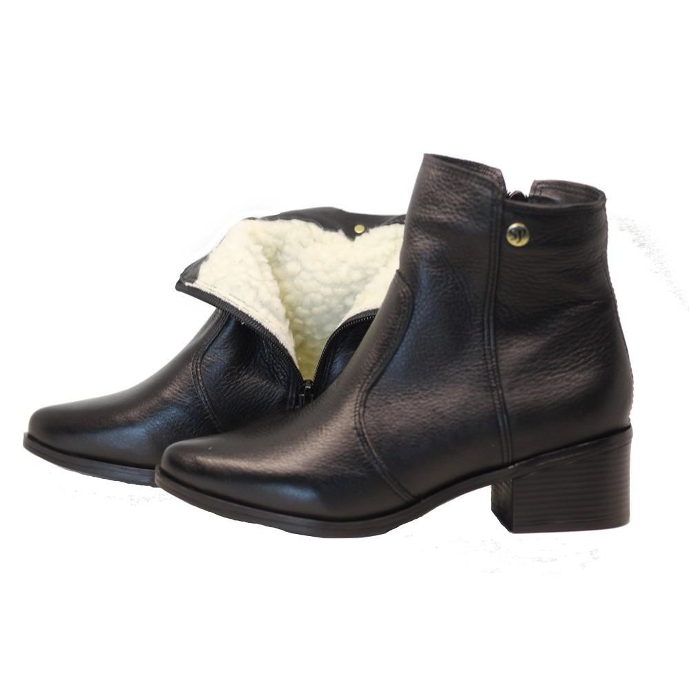 Bota cano curto lã sintética couro salto salto 4cm bico fino preto