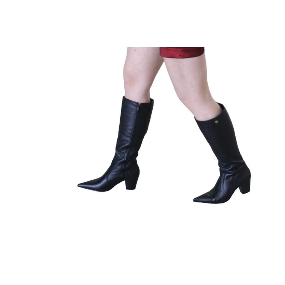 Bota Feminina Bico Fino Cano Longo Couro Salto 6 cm Preto