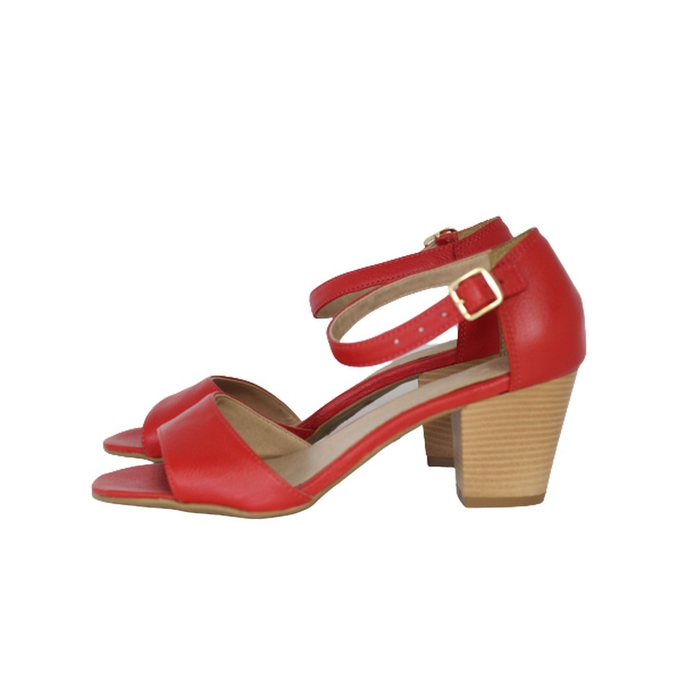 Sandália em Couro Salto Grosso 6 cm Vermelho