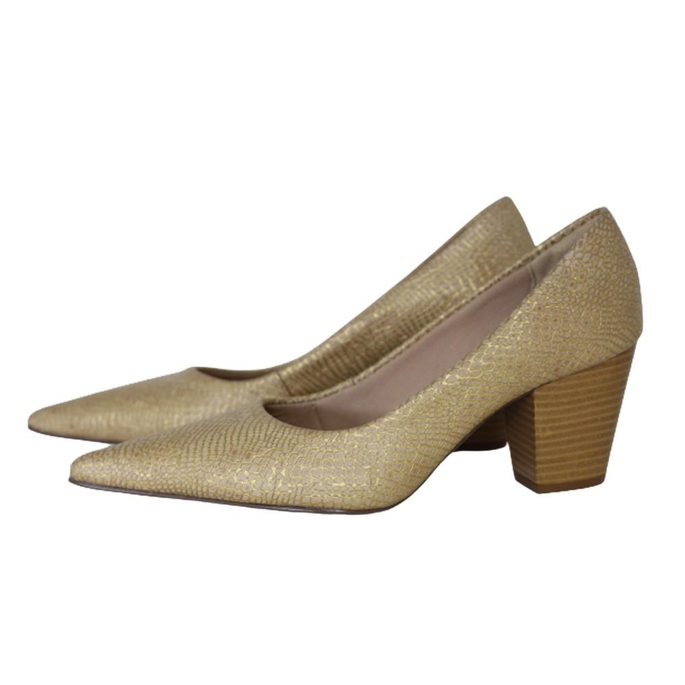 Scarpin Bico Fino em Couro Salto Grosso 6 cm  Dourado