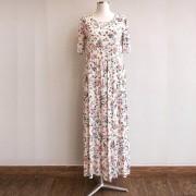 Vestido Babado Floral Branco 5 Marias