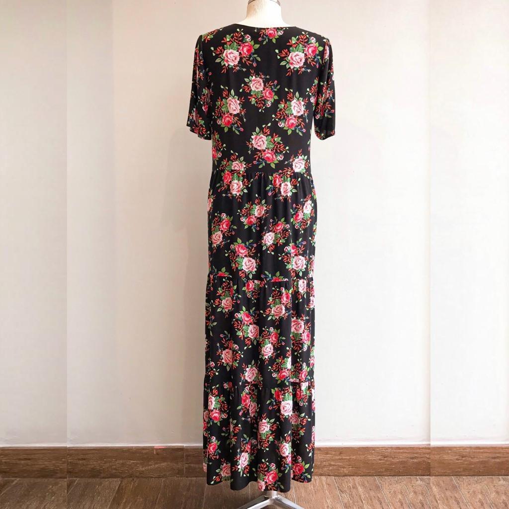 Vestido Floral Rosas Babado 5 Marias